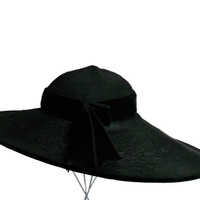 Vintage Hat Black Wide Brim by Saks Fifth Avenue Millinery Salon- Delicate Woven Design with Velvet Trim XS/S