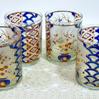 Mid Century 1950's Culver Glasses, 22K Gold, Asian Motif, Vintage Barware, Double Old Fashioned, CUV7 Blue Maroon and Gold Floral