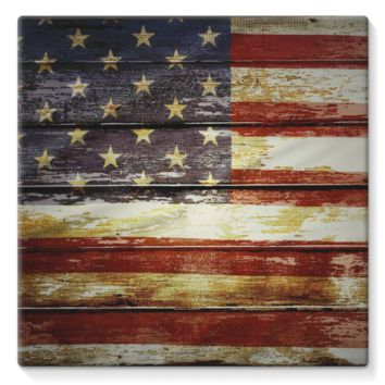 Retro American Flag on Wood Planks Stretched Canvas