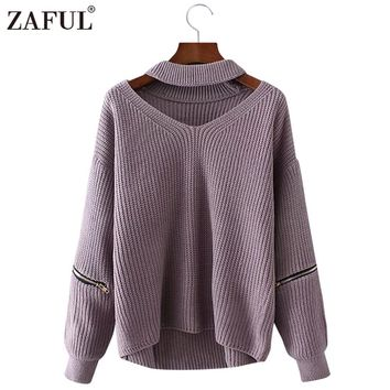 ZAFUL 2017 New Autumn Women Sweaters Pullovers V neck long sleeve zipper Loose Knitted Pullover Jumper Sweater