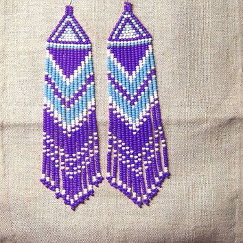 Beaded Native American  Earrings  Inspired. White Blue Purple  Earrings. Long Earrings.  Beadwork.