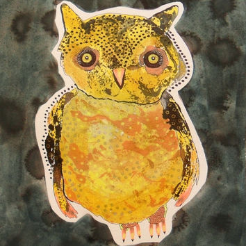 Primitive Owl Art - Folk Art Owl - Owl Drawing - Quirky Owl Painting - Owl Illustrations -  Owl Paintings - Owl Art - Quirky Owl - Cute Owl