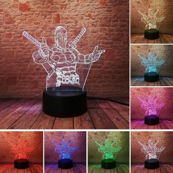 Deadpool Dead pool Taco  Model Toys 3D Illusion LED Lamp Colourful Touch NightLight Flashing Desk Decor  Action Figure AT_70_6