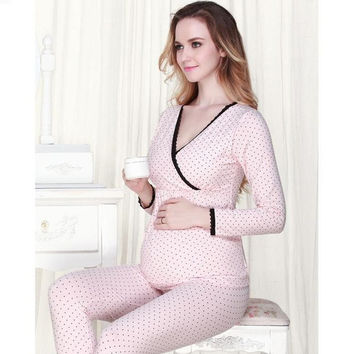 High quality mother care maternity postpartum baby breast feeding pajamas set = 1946934020