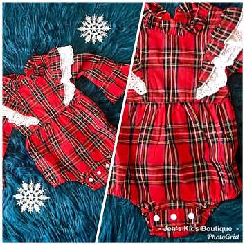 2018 Christmas Plaid Infant Ruffle Down The Front Long Sleeve Bubble
