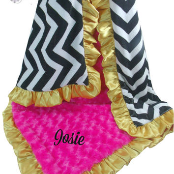 ON SALE Black Chevron, Fuchsia Pink and Gold Minky Baby Blanket, Can be Personalized