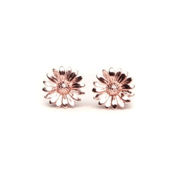 Rose Gold Daisy Balboa Stud Earrings