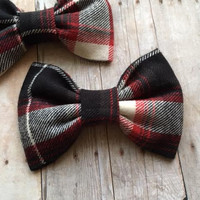 Red Black White Checker Plaid  Hair Bow or Bow Tie