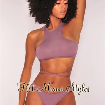 Purple Haze Lace Up Back Wrap Around Bikini