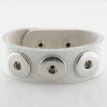 Leather Snap Charm Bracelet White Textured Grain Soft Small Size 22cm