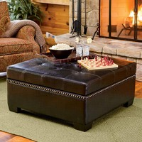 Oversized Bi-Cast Leather Storage Ottoman - Plow & Hearth