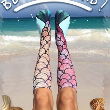 Christmas Gift Fish Scale Mermaid Pattern Printed Knee High Socks [9576609615]