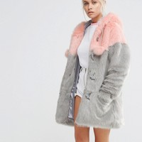 Lazy Oaf Faux Fur Duffle Coat With Pastel Panels And Pom Poms