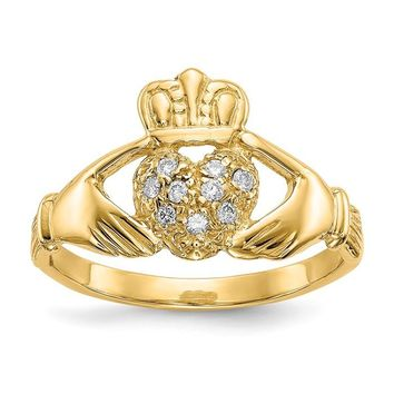 14k Yellow Gold 1/10ct AA Diamond Claddagh Ring