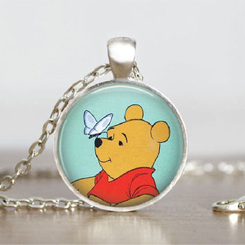 "Glass Tile Pendant Winnie the Pooh Necklace Pooh Bear Jewelry Glass Tile Pendant Winnie Pooh Milne Necklace 1"" Silver Round"