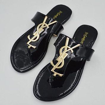 "YSL ""Yves Saint Laurent"" Women Summer Leisure Flat Sandal Slipper Shoes Black"