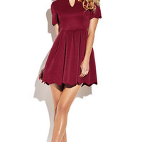 Burgundy Scalloped Hem Mini Dress