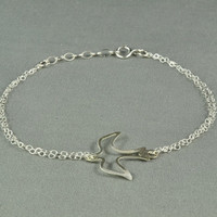 Pretty Openwork Dove Charm Bracelet, 925 Sterling Silver, Double Chain, Simple, Delicate, Everyday Wear Jewelry