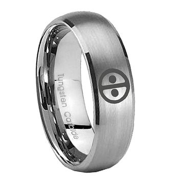 8mm Dead Pool Dome Brushed Tungsten Carbide Men's Wedding Band