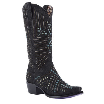 Cubic Enigma - Black with Turquoise Stones - Kippys by Lane Boots - KP0005A