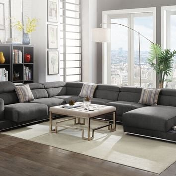 Acme 53720-21-22-23 5 pc Alwin dark gray fabric modular sectional sofa with chaise