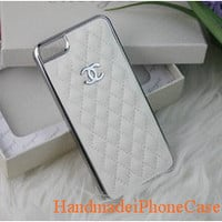 Personalized Custom Leather Fashion Chanel iphone 5 case, iphone 5 case, iPhone Case/Cover in White