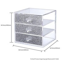 PuTwo Makeup Organizer Storage Box Lipstick Holder with 3 Drawers, Silver