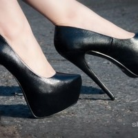 Bumper Elle-10A Pointy Toe Platform Pump (Black) - Shoes 4 U Las Vegas