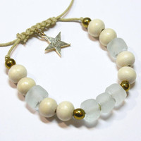 White recycled glass and wood bead bracelet with hematite