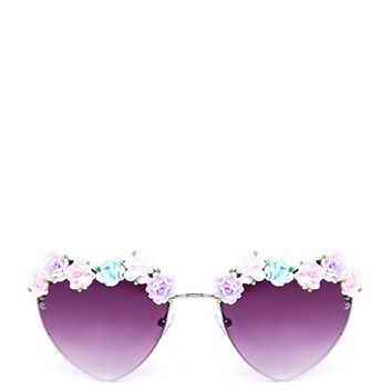 HEART FLOWERED SUNGLASSES - Black from ROXX at ShopRoxx.com