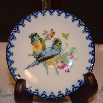 Miniature Parrots Plate Vintage Mini Bird Salt Dish Pin Dish Parrot Pair Floral Blue Trim Made in Japan Miniature Collectible Plate