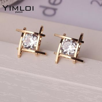 Elegant and Charming Black Rhinestone Full Crystals Square Stud Earrings  for Women Girls Statement Piercing Jewelry c2c0cab96cc6