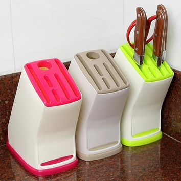 1Pcs Plastic Multifunction Knife Storage Rack Kitchen Knife Block Holder Turret Shelf Drainer Box Knives Fork Organizer Stand