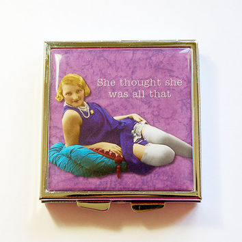 Pill Box, Pill Case, Square Pill case, pill container, 4 Sections, Square Pill box, Purple, She thought she was all that, sassy women (4339)