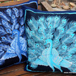 Blue Peacock Pillows In Sri Lankan Hand Drawn Batik