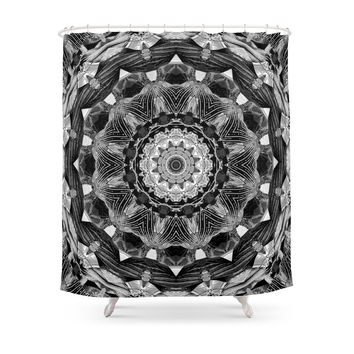 Society6 Bold 1bw Kaleidoscope Mandala Fractal Chakra Shower Curtain