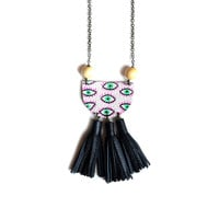 Eye Statement Necklace, Black Tassel Necklace, Beaded Wood Necklace | Boo and Boo Factory - Handmade Leather Jewelry