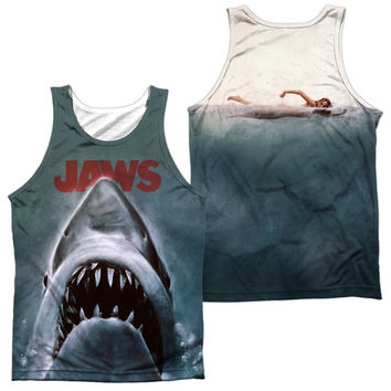 JAWS/POSTER - ADULT 100% POLY TANK TOP - WHITE -