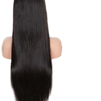 Virgin Brazilian Straight Full Lace Human Hair Wig Pre Plucked 10in-26in