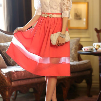 Female Skirt Women Knee Length Skirt Pleated Skirt = 1876592260