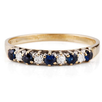 Sapphire eternity band, blue sapphire engagement ring, blue sapphire band,14K Yellow Gold Ring, Women Jewelry, Size Selectable
