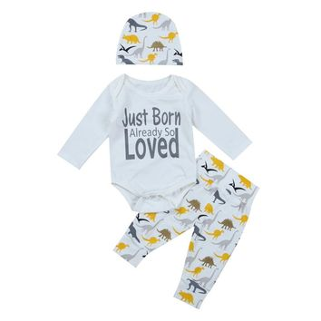 3PCS Set Loved Newborn Baby Boy Long Sleeve Tops+Dinosaur Pants & Hat