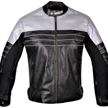 MotoArt Racing Pro Series I Silver & Black Perforated Biker Motorcycle Leather Jacket