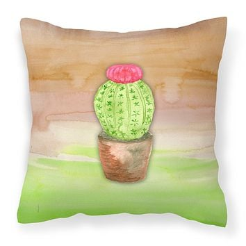 Cactus Green and Brown Watercolor Fabric Decorative Pillow BB7365PW1414