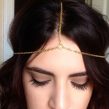 Gold Chain Headpiece, Gold Head Chain Jewelry, Gold Headdress, Kim Kardashian Headpiece, Gypsy Head Piece, Hippie Head Piece