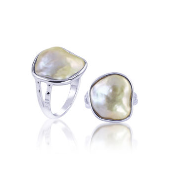 Imperial Pearl:  16-17mm peach 'exotics' Baroque Pearl ring in Sterling Silver - Size 7