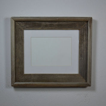 Gray reclaimed wood photo frame 8x10 with white 5x7mat