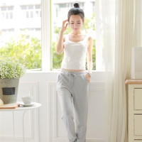 The new solid color drawstring loose sports pants