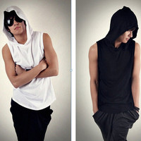 Mens Cool Sleeveless Pullover Hoodie