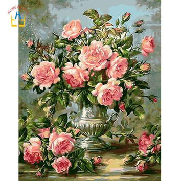 Draw pictures coloring by numbers on canvas with acrylic paints art paintings on the wall home decor pink rose flowers WYA120